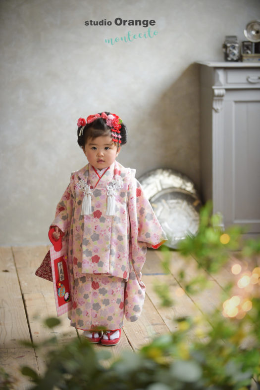 七五三 3才日本髪 ピンクの被布