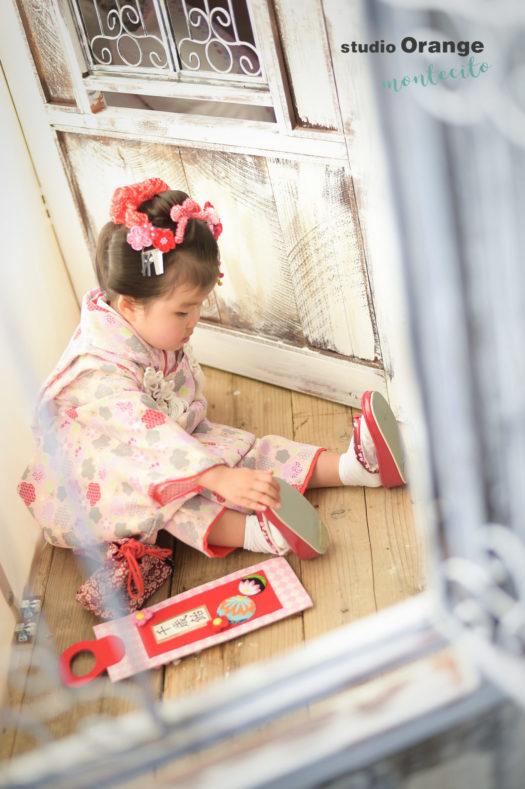 宝塚市 七五三 3才日本髪 ピンクの被布