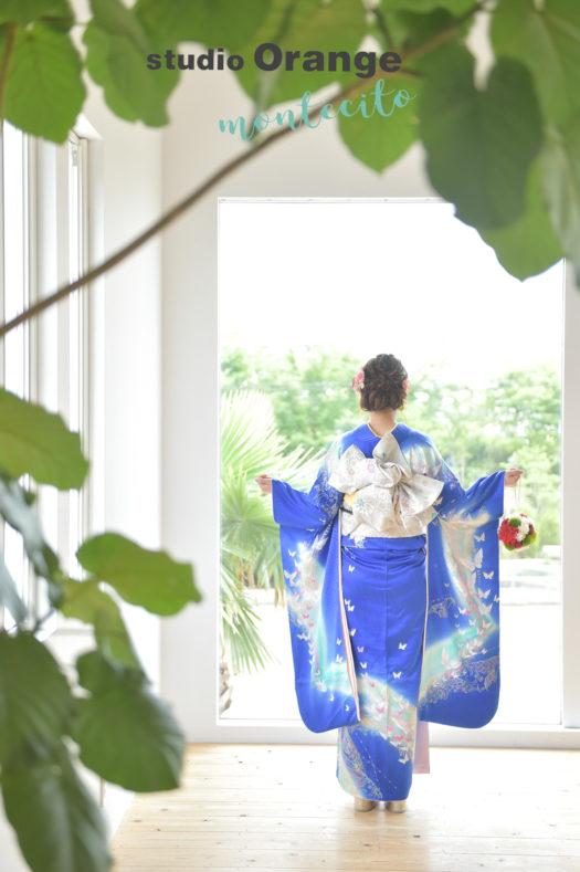 宝塚市 成人式 前撮り 青の振袖