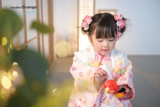 宝塚市 七五三 3才女の子 ピンクの被布