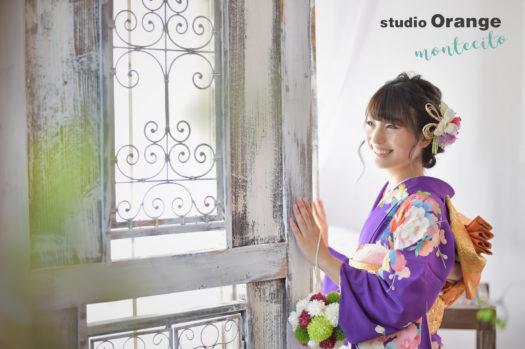 宝塚市 成人式 前撮り 紫の振袖