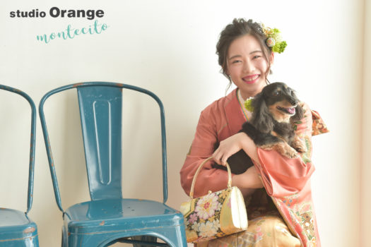 豊中市 成人式 犬と一緒に写真撮影