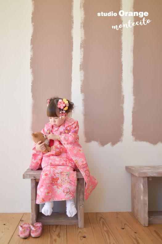 宝塚市 七五三 3才 ピンクのお被布