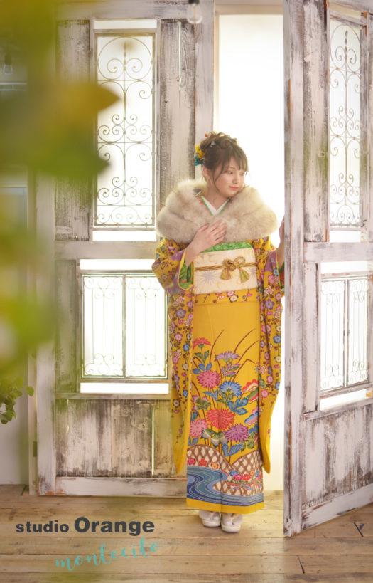 池田市 成人式 黄色の着物