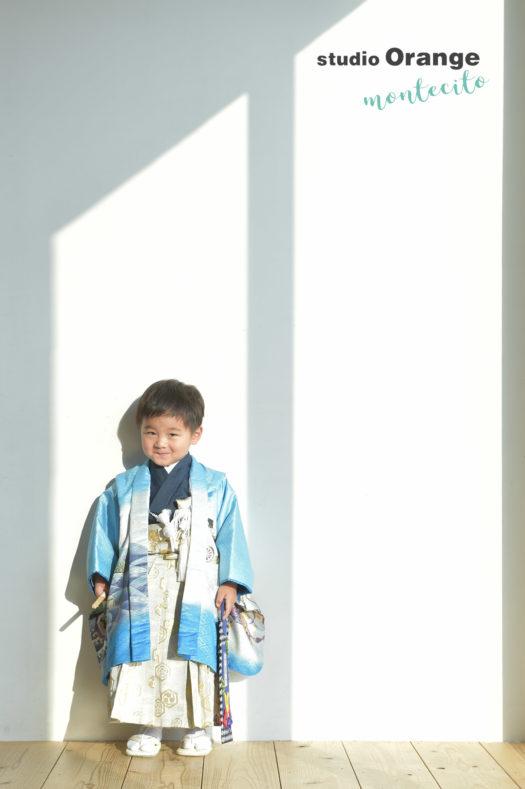 宝塚 七五三撮影 3歳男の子 水色の着物