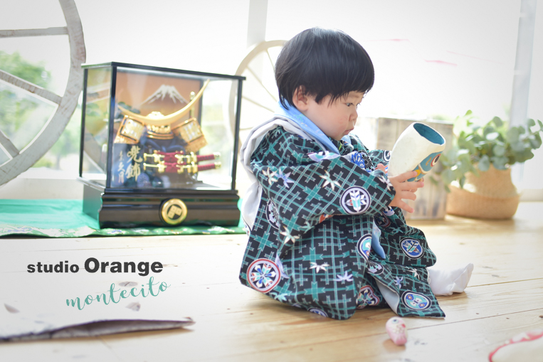 宝塚市 端午の節句 1才男の子 青の着物