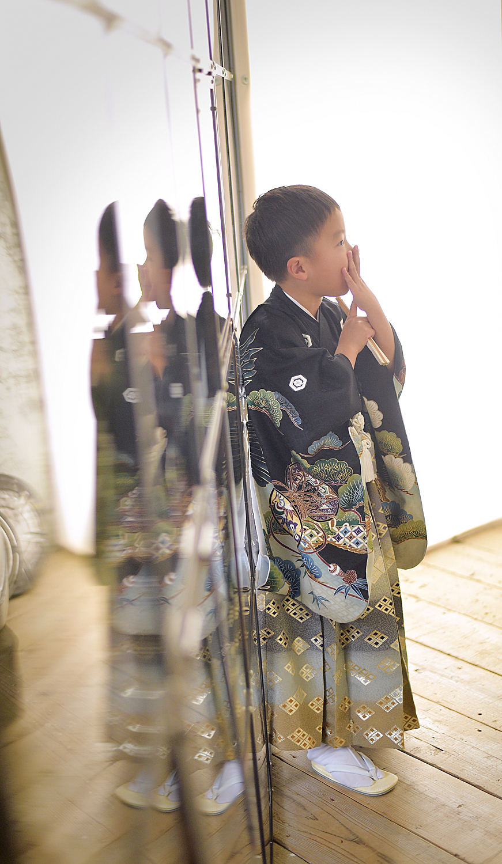 池田市 七五三 5才男の子 黒の着物