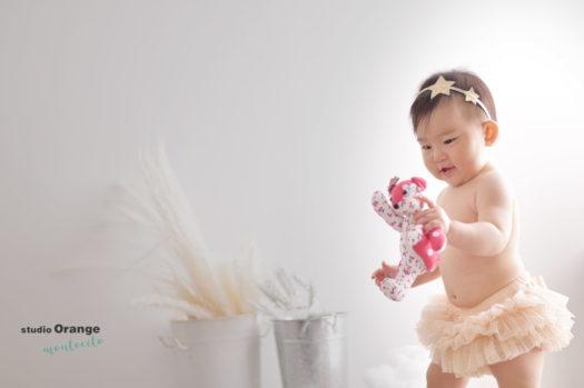 1歳女の子 お誕生日 はだかんぼ おむつカバー ピンク ロンパースベア