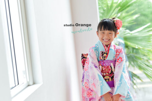 宝塚市 七五三撮影 7歳女児 絞り着物 水色