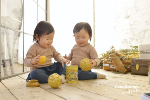 宝塚市 写真館 お誕生日撮影 双子 女の子