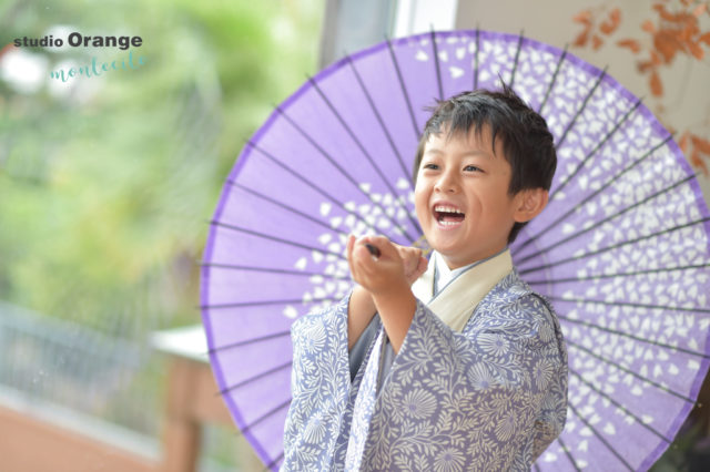宝塚市 七五三 紫着物 着物