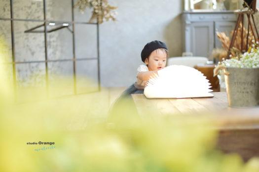 1歳 女の子 バースデー お誕生日 ベレー帽 本 光
