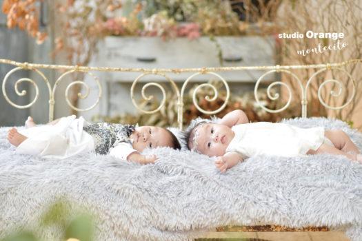 赤ちゃん 2人 いとこ ベビードレス ベビータキシード 白