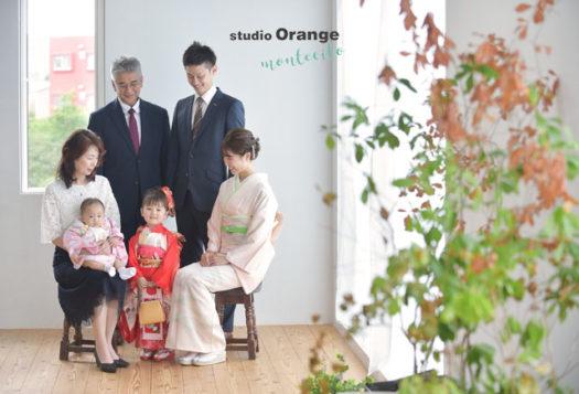 宝塚市 七五三 家族 ママ訪問着 赤い着物