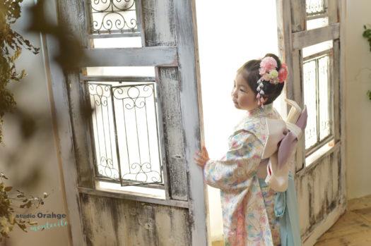 着物 七五三 7歳女児 白い着物 オリジナル着物 日本髪