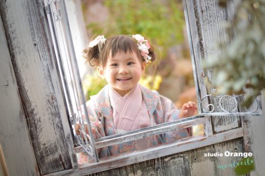 七五三 3歳女の子 被布コート 宝塚市 写真館 スタジオオレンジモンテシート