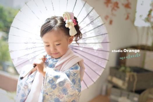 七五三 3歳女の子 被布 宝塚市 写真館 スタジオオレンジモンテシート