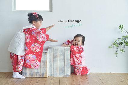 宝塚市 七五三 女の子 姉妹 赤い着物 被布