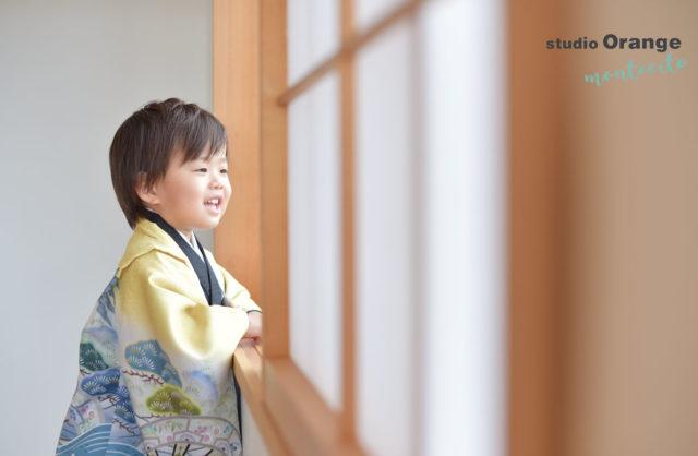 宝塚市 七五三 前撮り 着物 黄色