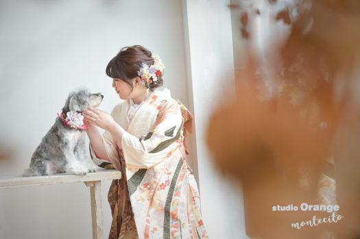 宝塚市 成人式 写真 犬と一緒に撮影 ミニチュアシュナウザー