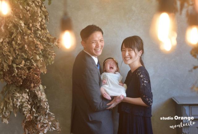 宝塚市 お宮参り 洋装 家族写真