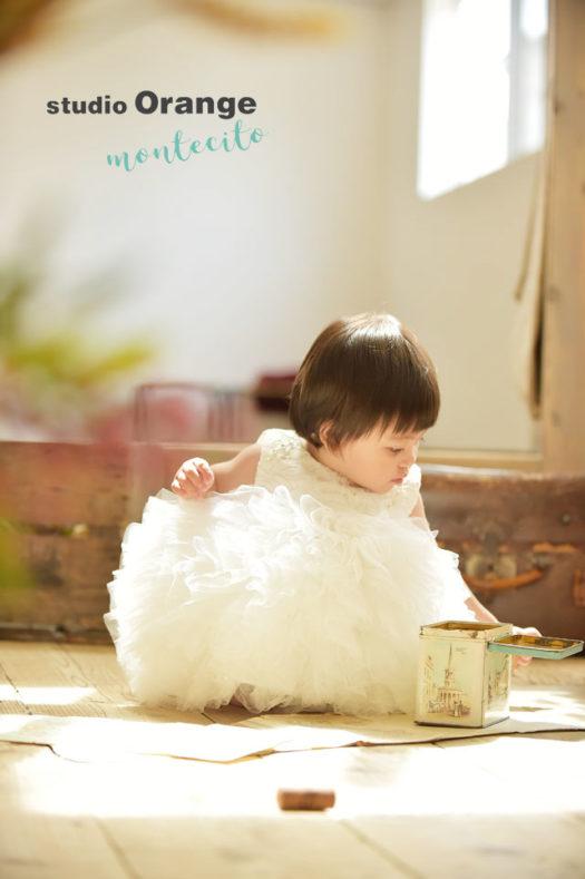 バースデーフォト 1才女の子 ドレス 写真館 スタジオオレンジモンテシート