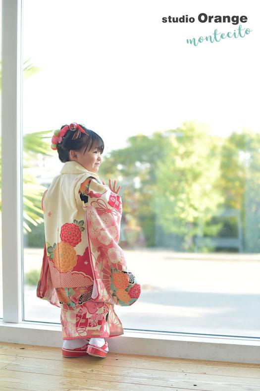 箕面市 七五三 3歳女の子 日本髪 新作被布