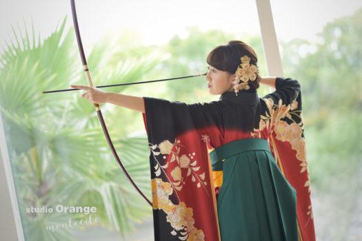 伊丹市 成人式 振袖 写真撮影 弓道 弓を持ち込み撮影
