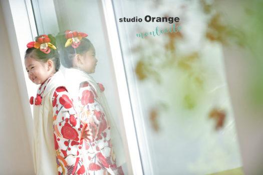 七五三 中山寺 お参り 3歳女の子 お被布 持ち込み着物 宝塚市 写真館 スタジオオレンジモンテシート