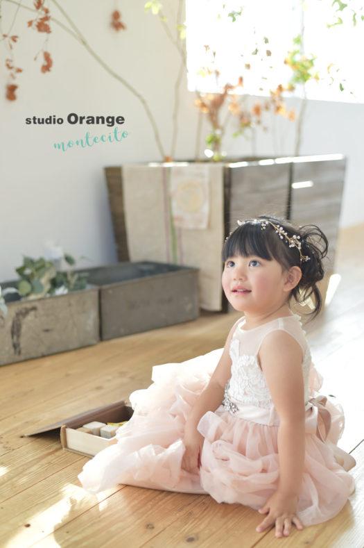 七五三 3才女の子 被布コート 写真館 スタジオオレンジモンテシート