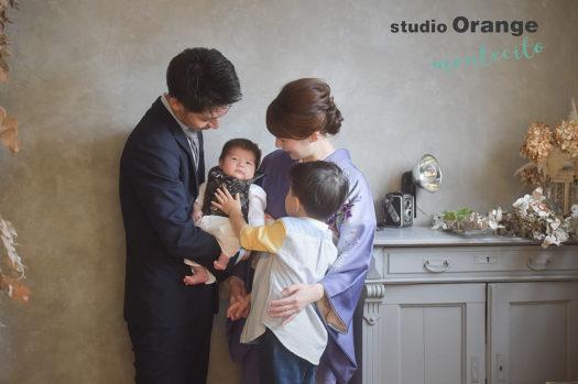宝塚市 お宮参り 青の初着 男の子兄弟 ママも着物姿で撮影