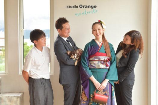 宝塚市 成人式 前撮り 後撮り 振袖 犬 家族写真 スタジオオレンジモンテシート