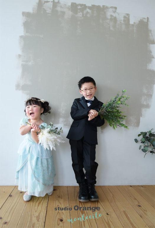 七五三 3才女の子 ドレス スーツ 多田神社 宝塚市 写真館 スタジオオレンジモンテシート