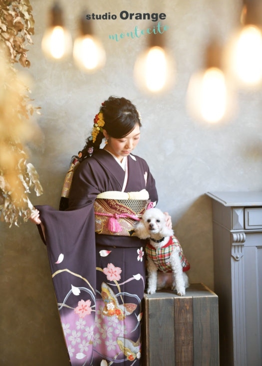 宝塚市 成人式 犬と撮影