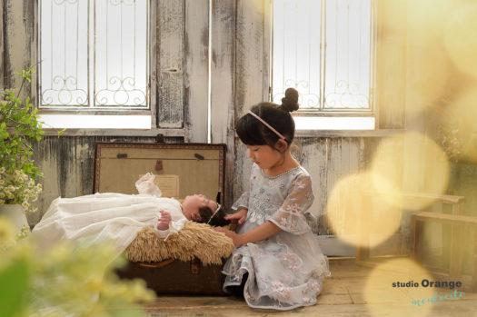 伊丹市 お宮参り 生後一ヶ月 女の子 洋装 姉妹撮影