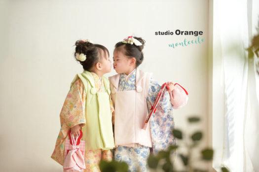 七五三 被布 3才女の子 双子 スタジオオレンジモンテシート