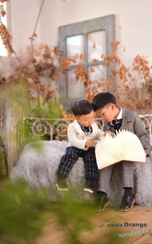 宝塚市 七五三 五歳男の子 洋装 兄弟撮影