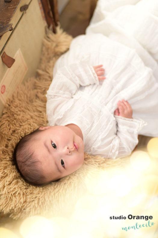 さいたま市 お宮参り 生後四ヶ月女の子 洋装 ベビードレス