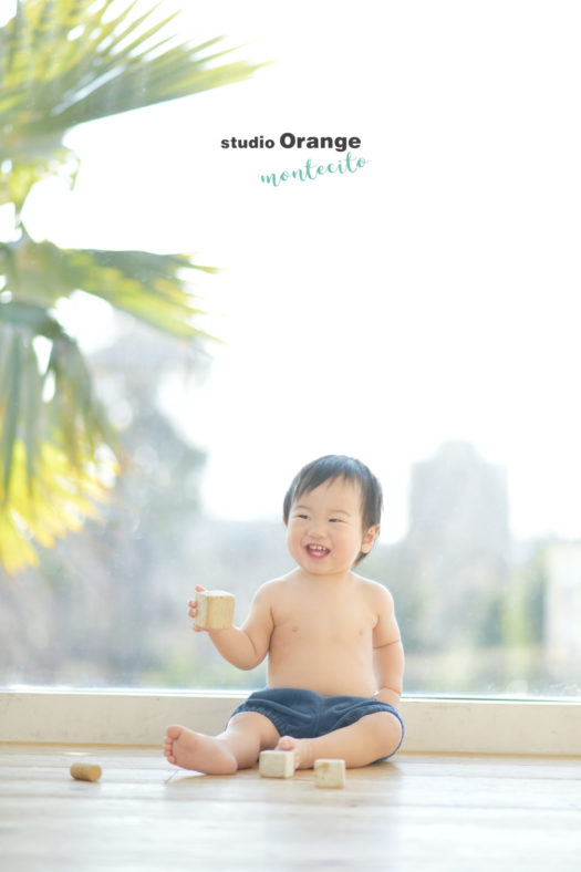 はだかんぼ お誕生日 バースデーフォト 男の子 1歳 宝塚市 写真館 スタジオオレンジモンテシート