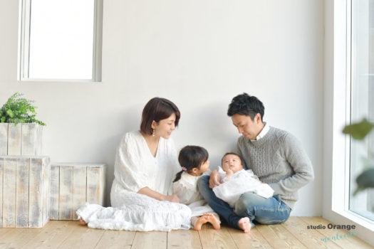 お宮参り ベビードレス 家族撮影