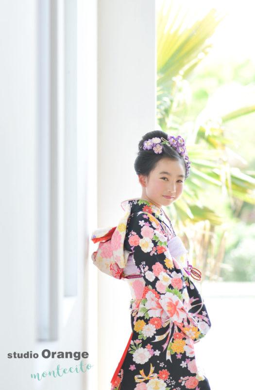 宝塚市 写真館 10歳記念 2分の1成人式 着物 日本髪