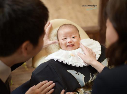 お宮参り 家族写真 着物 お祝い着 初着 男の子 中山寺