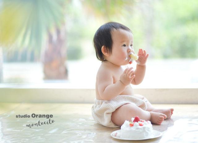 川西市 写真館 フォトスタジオ お誕生日 バースデー 女の子 スマッシュケーキ かぎ針編み