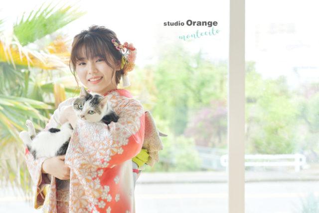 宝塚市 写真館 スタジオオレンジモンテシート 猫 成人式 振袖 前撮り
