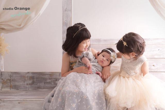 宝塚市 お宮参り 3ヶ月女の子 洋装 兄弟撮影
