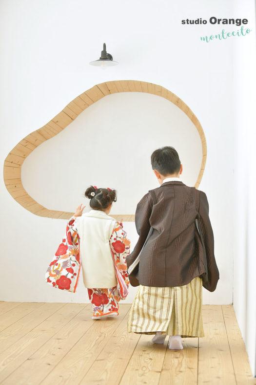 池田市 3歳女の子 5歳男の子 七五三撮影 着物