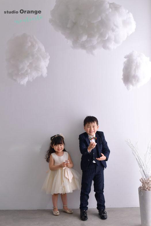 池田市 3歳女の子 5歳男の子 七五三撮影 洋装