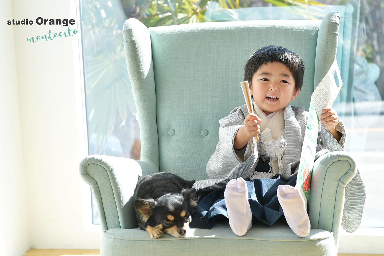 神戸市 3歳男の子 七五三撮影 チワワ