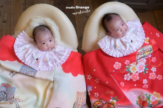 生後2ヶ月 女の子 双子 お宮参り