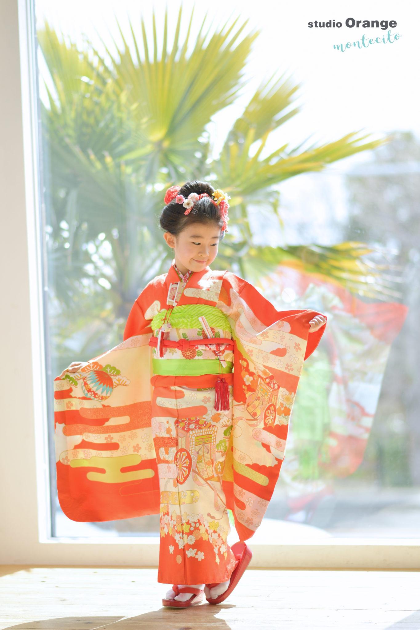宝塚市 7歳女の子 持込着物 日本髪 七五三